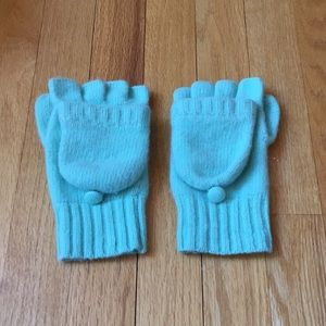 J Crew Green Cashmere and Wool Fingerless Gloves